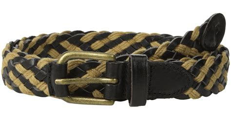 scotch soda braided leather cord belt in black for