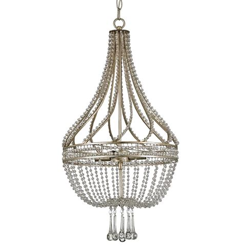 Basket Chandelier Cora Hollywood Regency Beaded Crystal Antique Silver