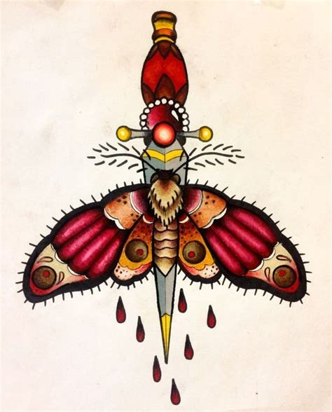 moth and dagger tattoo traditional colorful moth killed with dagger design
