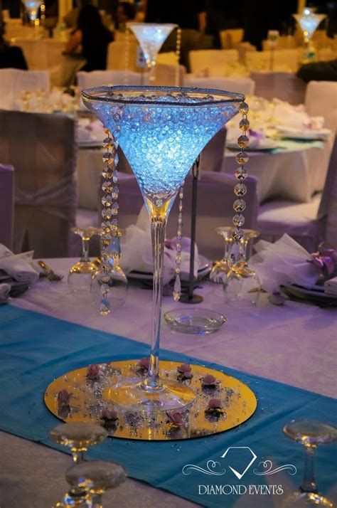 wedding centerpiece idea using a martini glass try