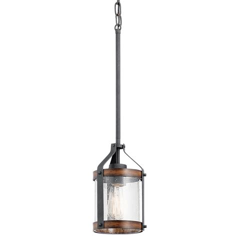 Rustic Glass Pendant Lights Shop Kichler Lighting Barrington 5 5 In Distressed Black And Wood Rustic Single Seeded Glass