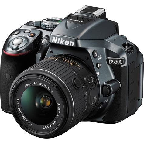 nikon d5300 nikon d5300 dslr with 18 55mm lens gray 1524 b h