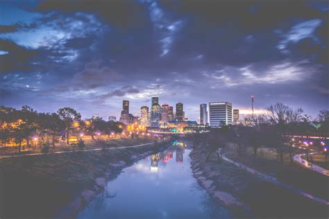 Landscape Photography Houston Downtown Houston Skyline And Buffalo Bayou At View