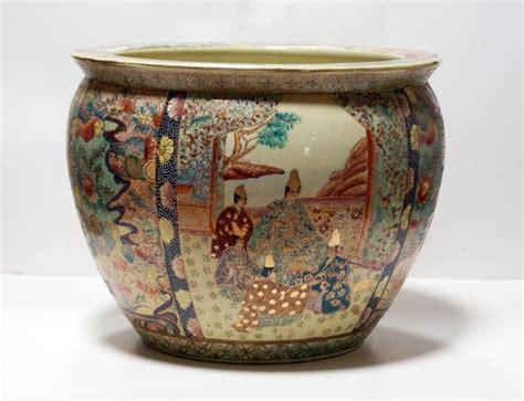 painted satsuma gold fish porcelain planter