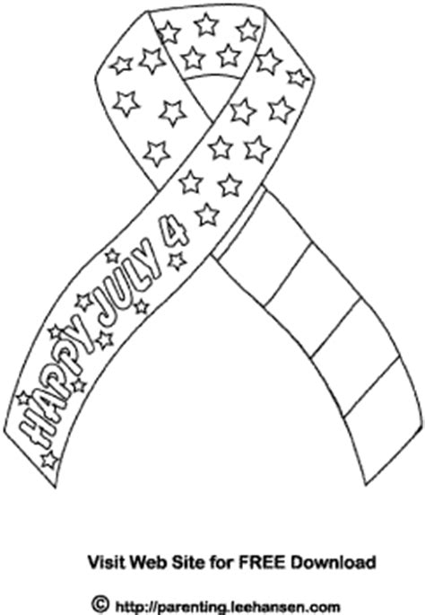 july 4th ribbon coloring page usa patriotic picture to color