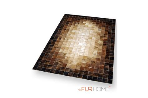 Beige & brown mosaic patchwork cowhide leather rug K-1687 ... K 1687