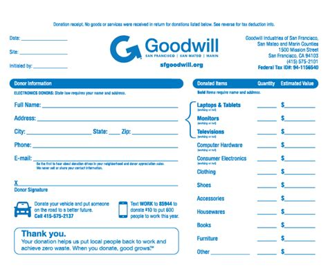 goodwill charitable donation receipt template 9 best images of printable donation receipts printable