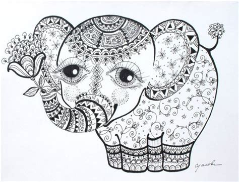 detailed elephant coloring pages elephant calf abstract doodle zentangle zendoodle paisley