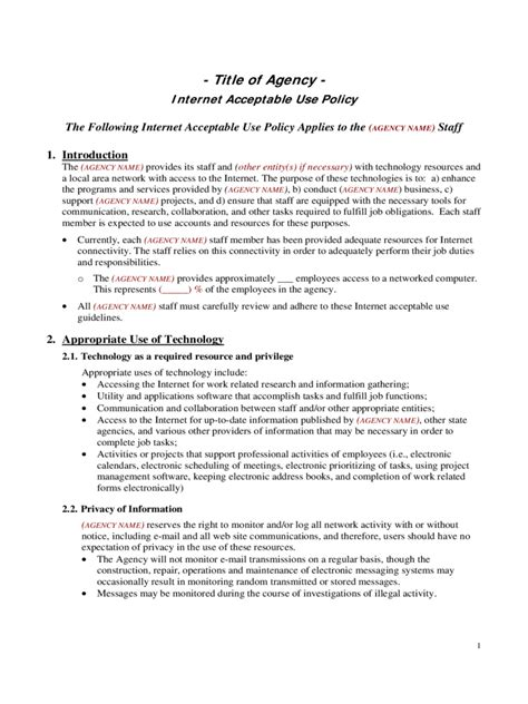 Acceptable Use Policy Template Acceptable Use Policy Template 2 Free Templates In Pdf Word Excel Download