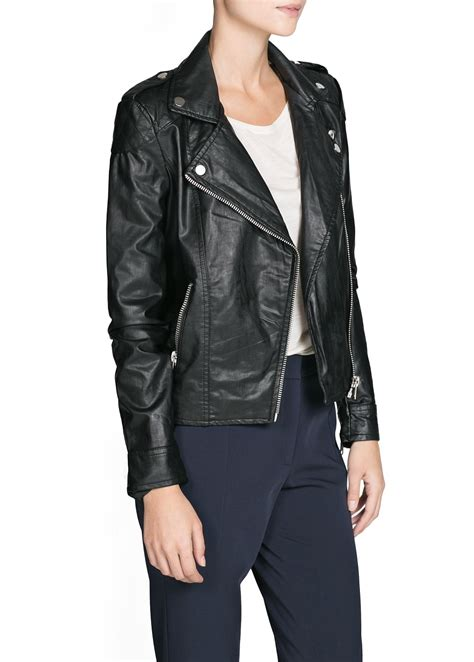 Faux Leather Jacket faux leather biker jacket mango usa