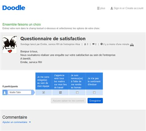 doodle questionnaire en ligne enquete de satisfaction client creer votre questionnaire