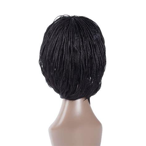 human hair braid wigs for african american wigs for black women braided short micro box braid hair