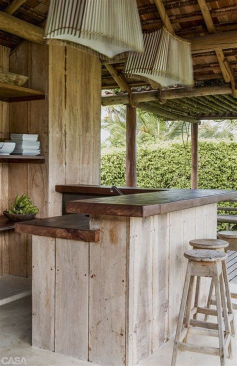 outdoor bar little kitchen rustic sustainable bench shelf natural