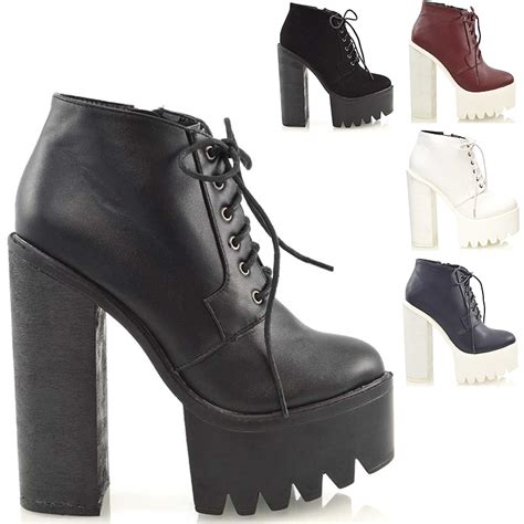 Chunky Heel Platform Ankle Boots chunky high heel cleated sole womens platform ankle