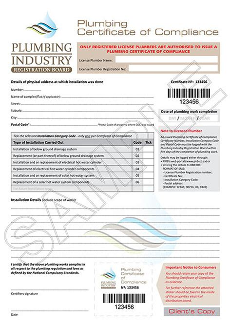 Plumbing Industry Commission Certificate Compliance by Certificate Of Compliance Plumbboyz