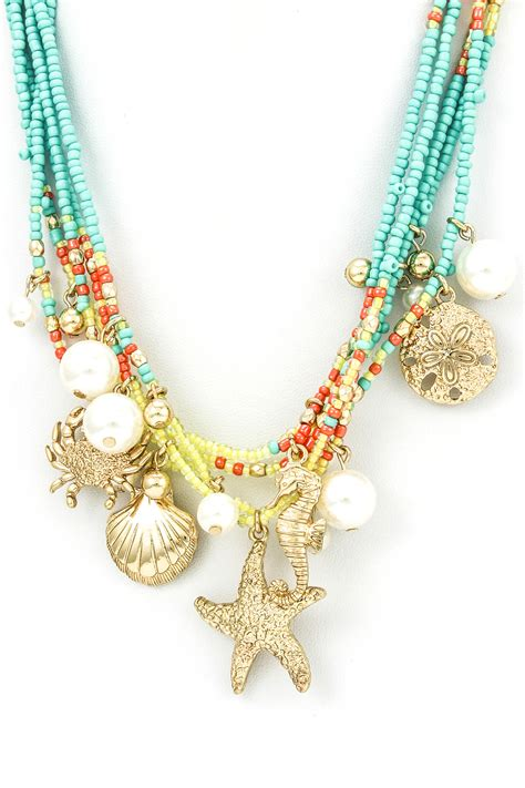sea bead necklace sea charms seed bead necklace set necklaces