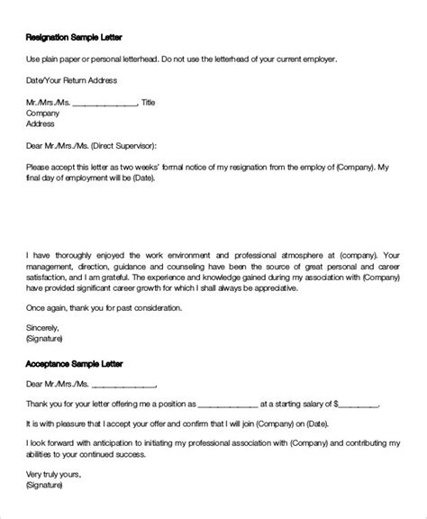 Joining Letter Sle Doc Acceptance Letter Of Resignation Ideas 33 Acceptance Letters In Pdf 6 Resignation Acceptance