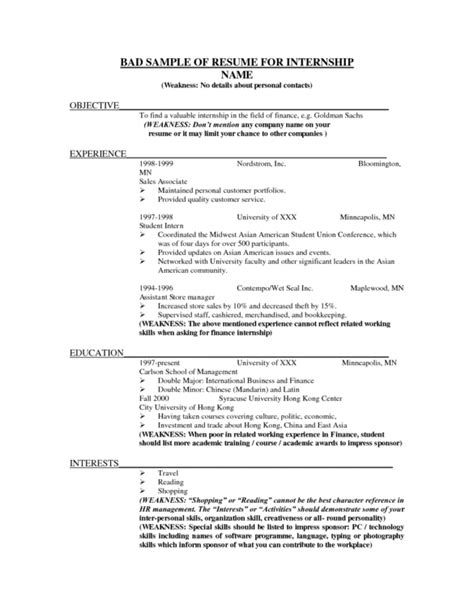 bad resume sles top resume exles exles of resumes resume exles 15