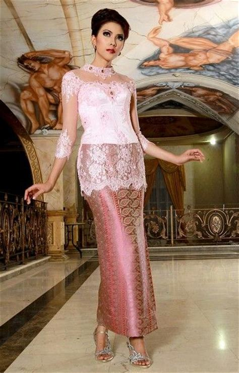 Kebaya Lengan Pendek Merah 052 kain songket batik songket kebaya