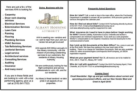 housing authority rules and regulations procurement purchasing albany housing authority news