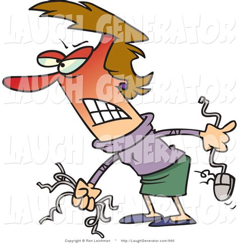Humor Clipart humorous clip of a frustrated and angry holding computer wires and a mouse by