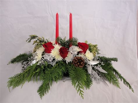 large christmas centerpiece higher power flowers