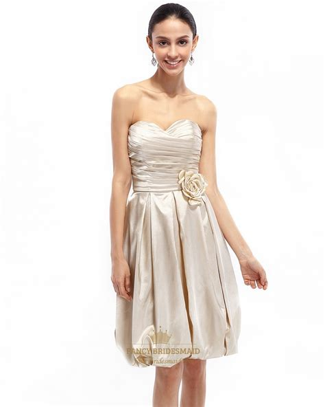 Bridesmaid Dresses by Chagne Strapless Taffeta Ruched Bridesmaid Dress With
