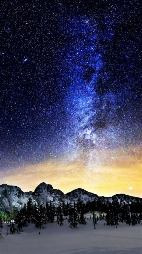 mountains nature snow outer space stars wallpaper