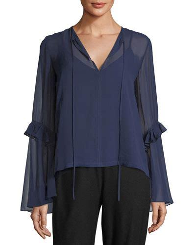 Now Blue Butterfly Sleeve Split Neck Blouse blue silk blouse neiman