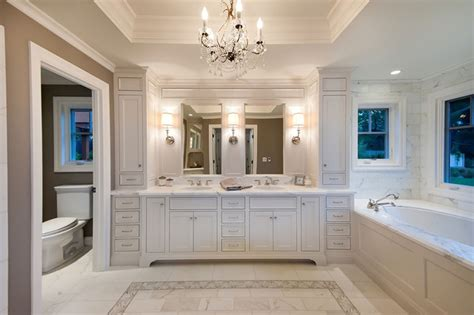 Shabby Chic Chandeliers Cheap by Master Bath In White Traditional Bathroom San
