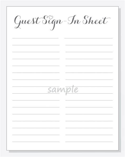 Diy Guest Sign In Sheet Printable For A By Lilcubbyprintables Gender Reveal Pinterest Guest Book Sign In Sheet Template