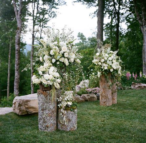Wedding Log by Backyard Wedding Altar Pretty Floral Arrangements On Cut