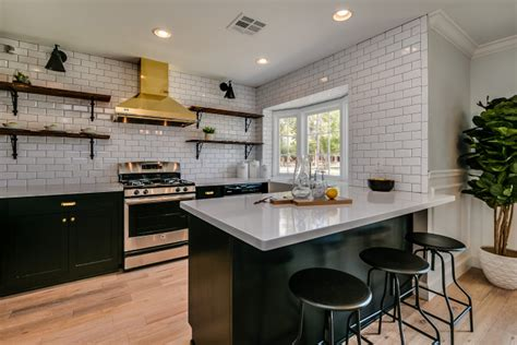 Black Kitchen Shelves Black Cabinets With Gold Kitchen Contemporary Kitchen