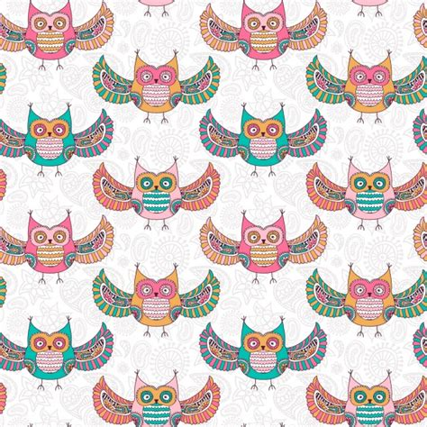 owl pattern vector free download coloured owls pattern design vector free download