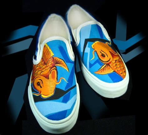 Shoes Wonderful Shoes Shoe Shopping With Second City Style Fashion by Custom Painted Vans Shoes Mens Sizes Koi Fish