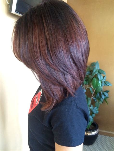 fixing bad angled bob haircut dark root color melted into a red brown hair colors