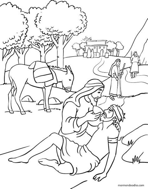 mormon doodles the good samaritan coloring page sunday