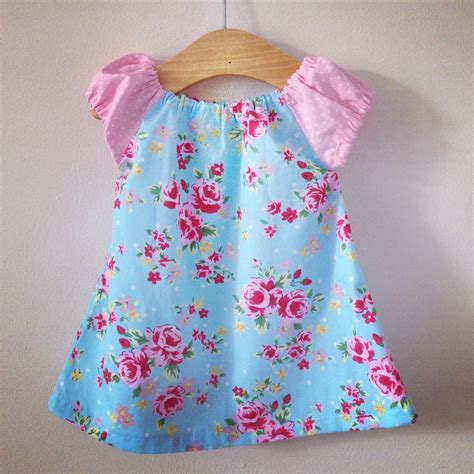 Handmade Toddler Dresses - blue dress 9 12 months baby clothes 171 dress style
