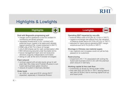 Caign Summary Report Template lowlights vs highlights in presentation rhi ag adr 2017 q2