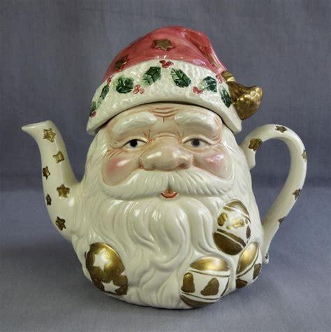 hand painted ceramic santa claus head teapot christmas