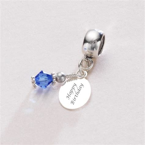 Birthstone Charm Sterling Silver fits Pandora, Any Engraving   Charming Engraving