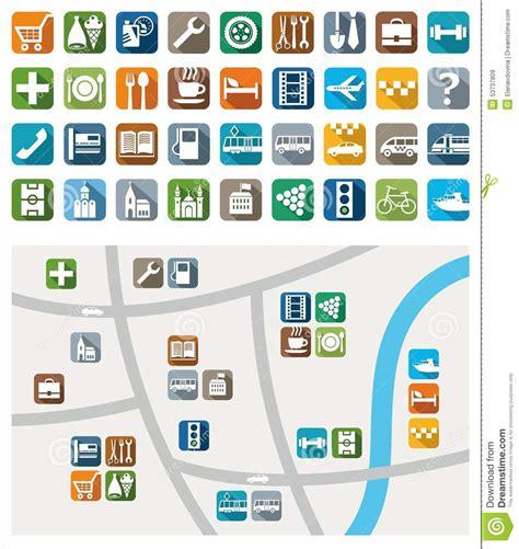imagenes simbolos urbanos mapa de la ciudad iconos del color servicio servicios