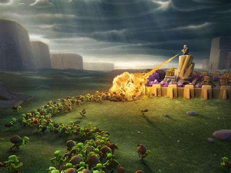 wallpaper laptop clash of clans clash of clans wiz and goblins hd games 4k wallpapers
