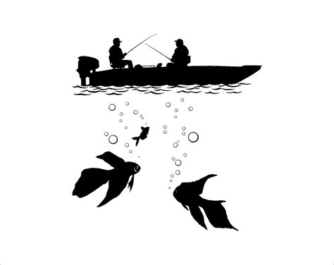Cinderella Wall Stickers fishing fisherman silhouette in the boat underwater fish swims