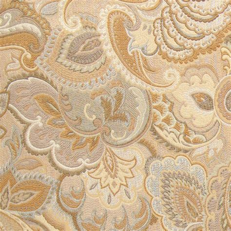 gold and beige abstract floral upholstery fabric by the