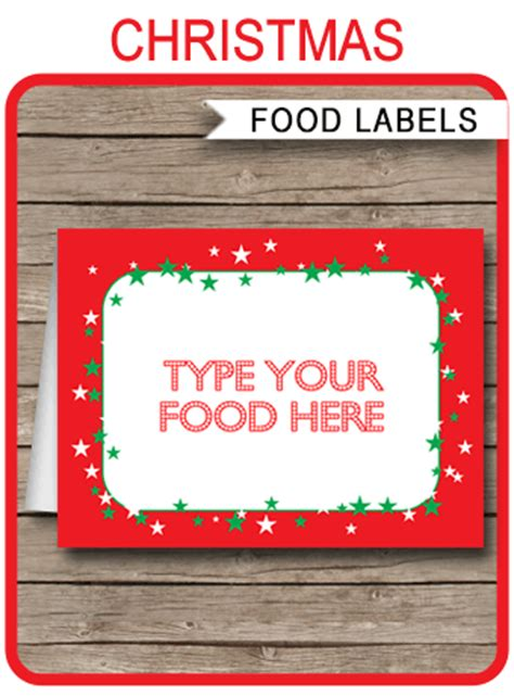 christmas party food labels place cards christmas