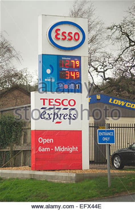 Tesco Garage Opening Times by Tesco Petrol Station Signs With Prices For Fuel Stock
