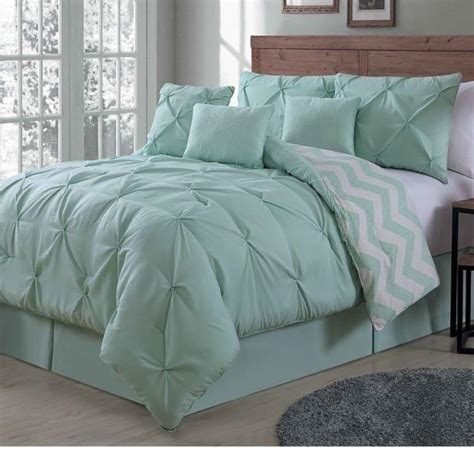 mint green comforters new queen king bed 7 pc mint green pinch pleat chevron
