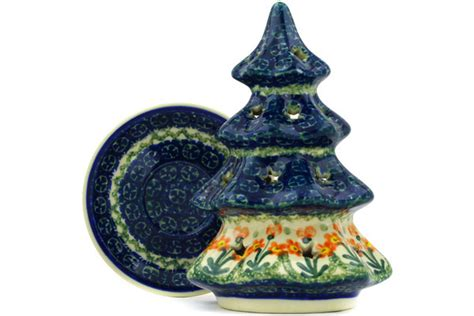 tree pattern candle holder polish pottery 7 inch christmas tree candle holder