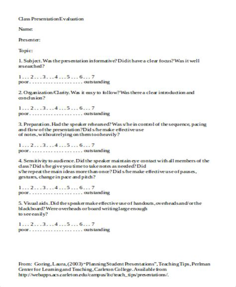 presentation evaluation form in doc sle presentation evaluation form in doc 9 exles